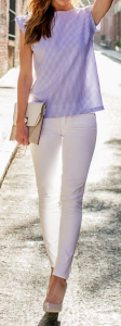 blauw-wit gestreepte blouse
