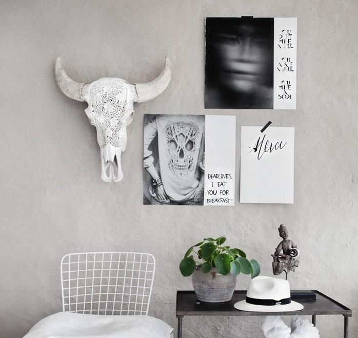Skull on wall living trend