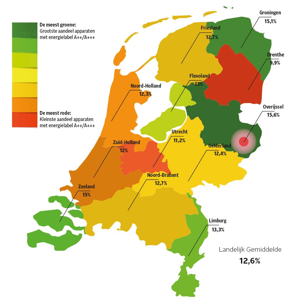 Energiezuinige apparaten per provincie