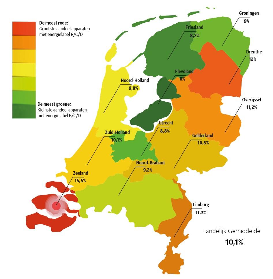 Niet energiezuinige apparaten per provincie