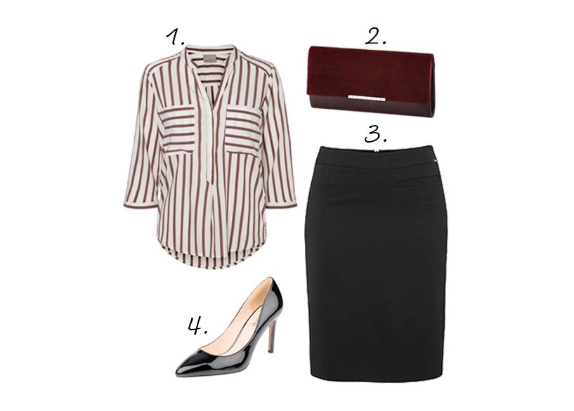 streepjes blouse kokerrok classy