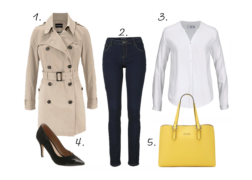 trenchcoat outfit blouse pumps