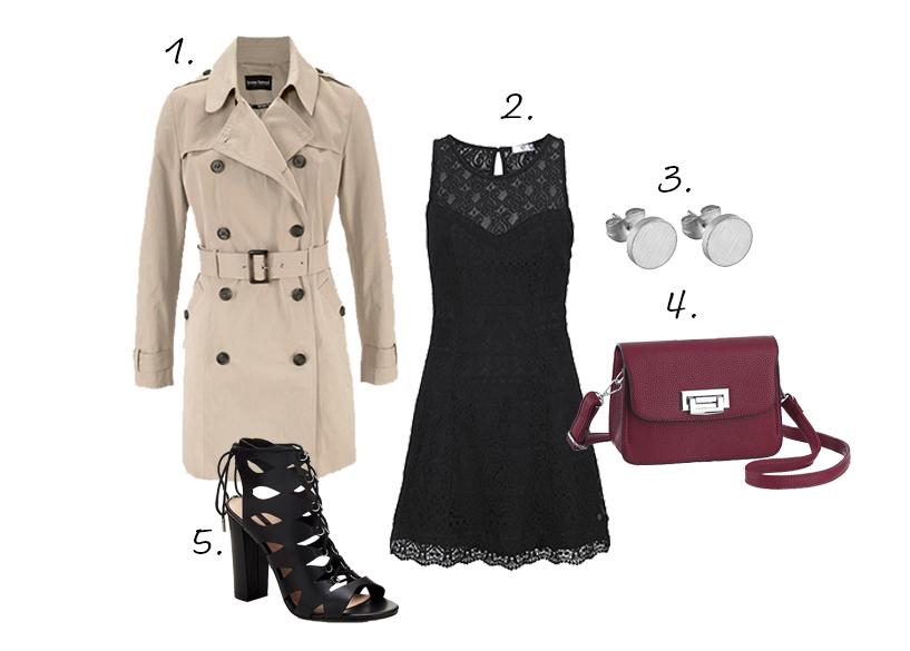 trenchcoat outfit zwart jurkje hakken