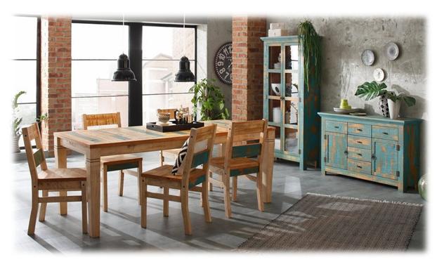 Home Affaire stoelen en tafels van massief grenen met een vleugje blauw. Botanisch geheel