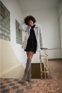 long sleeves en faux fur coat