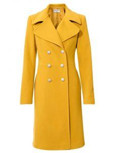 Gele wollen mantel