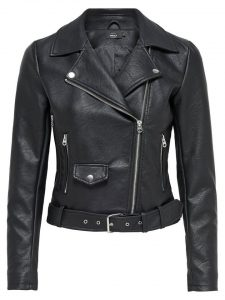 basic zwarte leren jas