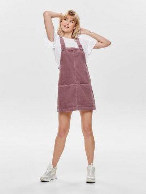 Roze corduroy overall jurkje