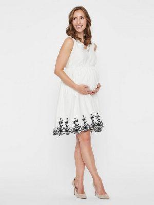 Zwangerschapskleding: korte witte jurk