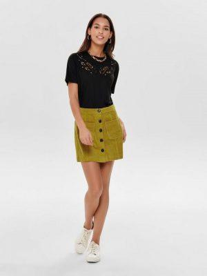 Corduroy rok geel