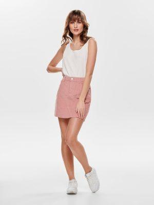 Corduroy rok roze