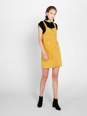 Geel corduroy overall jurkje