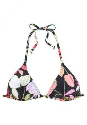 Zwarte bikinitop met tropische print