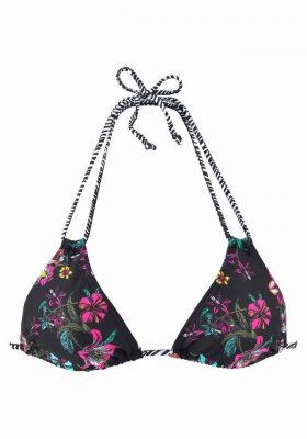 Zwarte bikinitop met bloemenprint