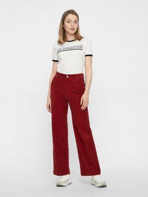Wijdvallende corduroy broek rood