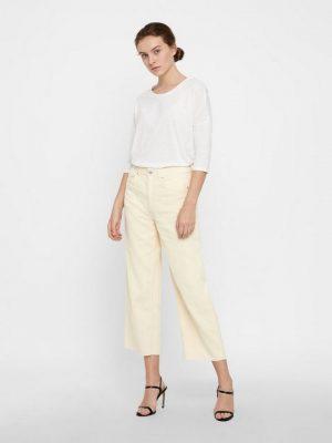 Wijdvallende corduroy broek beige