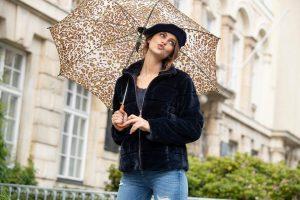 Sfeerbeeld, bontjas, panter paraplu, accessoires