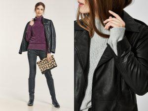 Casual look met leren jasje en truien