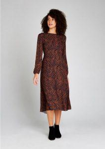 Zwart met bruine zebra print strepen jurk, dierenprint