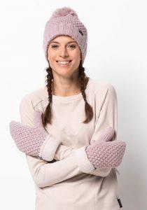 Roze/paarse warme muts en handschoenen