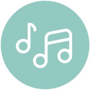 Icoon groen muziek werkt ontspannen