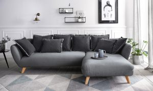 Woonkamer en slaapkamer modern zwart en wit