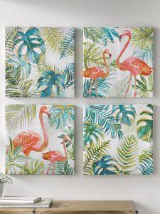 Schilderij kleurrijk flamingo