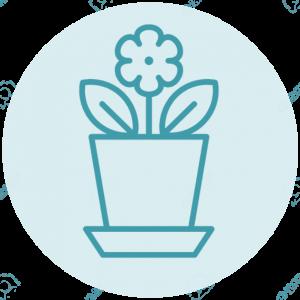 Icoon bloempot met bloem
