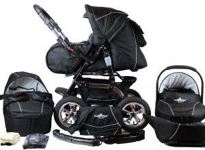 Zwarte kinderwagen voor baby uitzetlijst