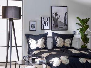 Dekbedovertrek zwart vlinders slaapkamer