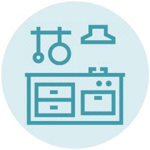keuken icoon blauw voorjaarsschoonmaak