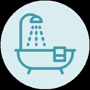 badkamer icoon blauw voorjaarsschoonmaak