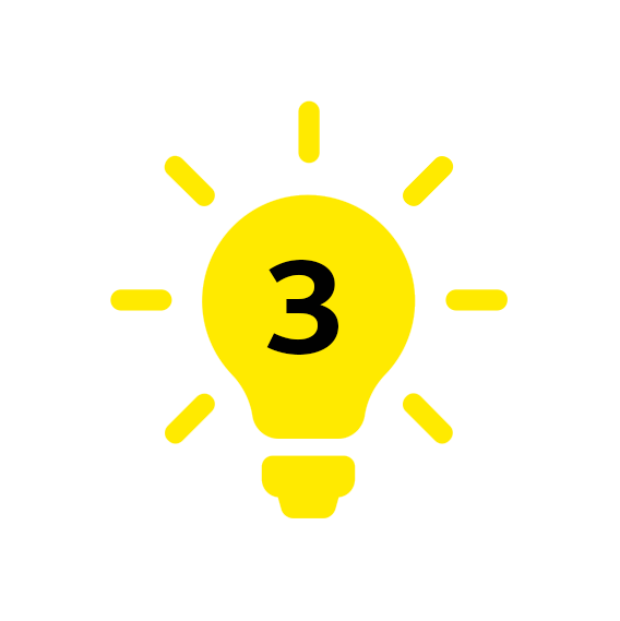 icoon licht met cijfer 3
