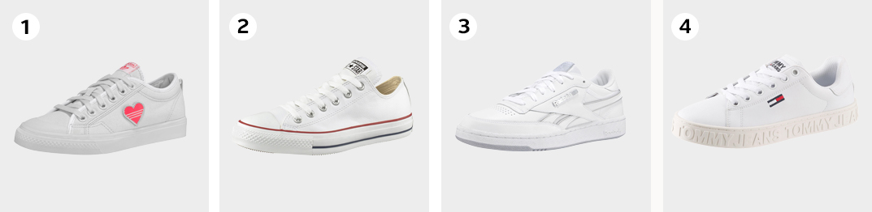 Voorbeelden zomerschoenen witte sneakers