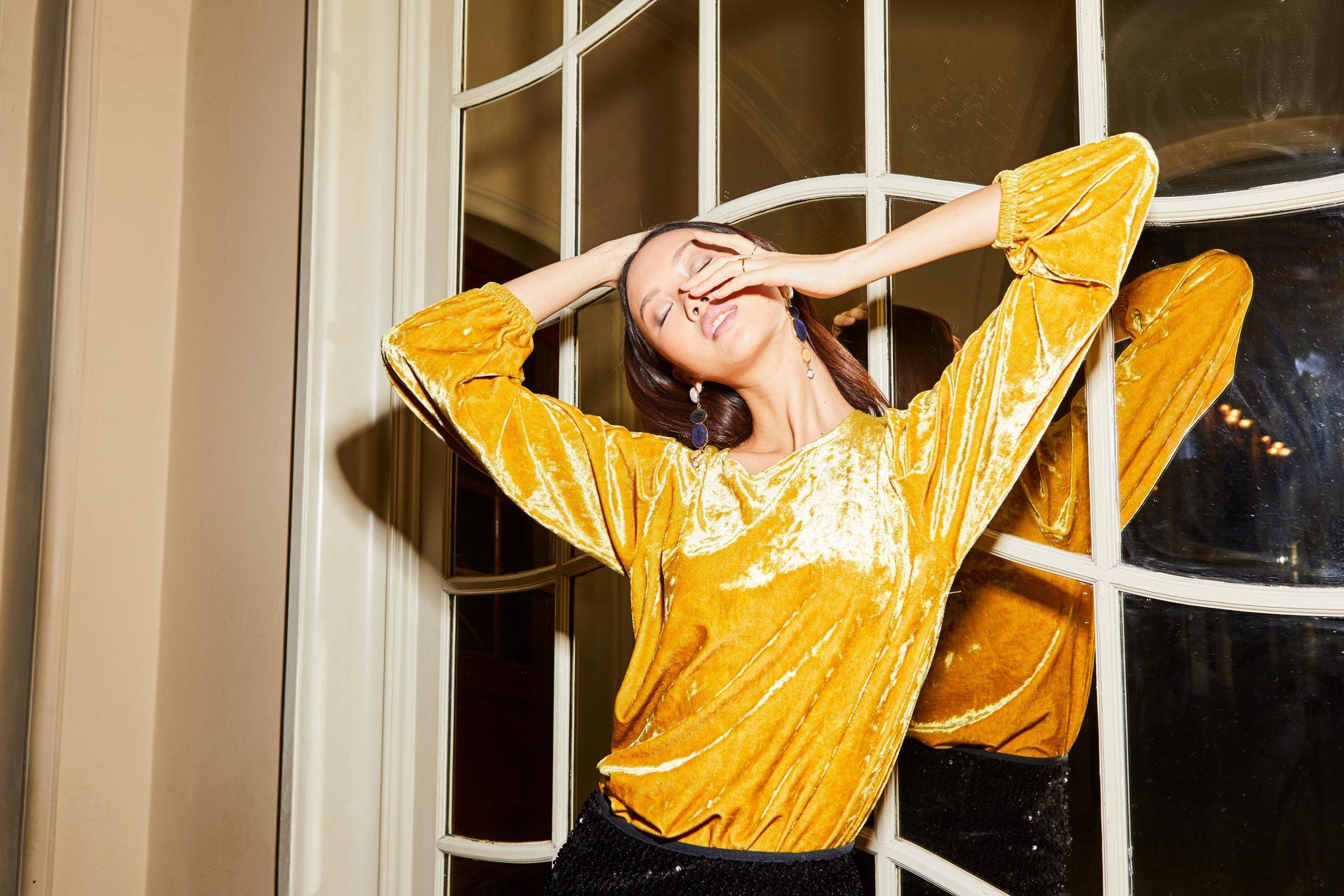 Bruno Banani shirt met lange mouwen geel