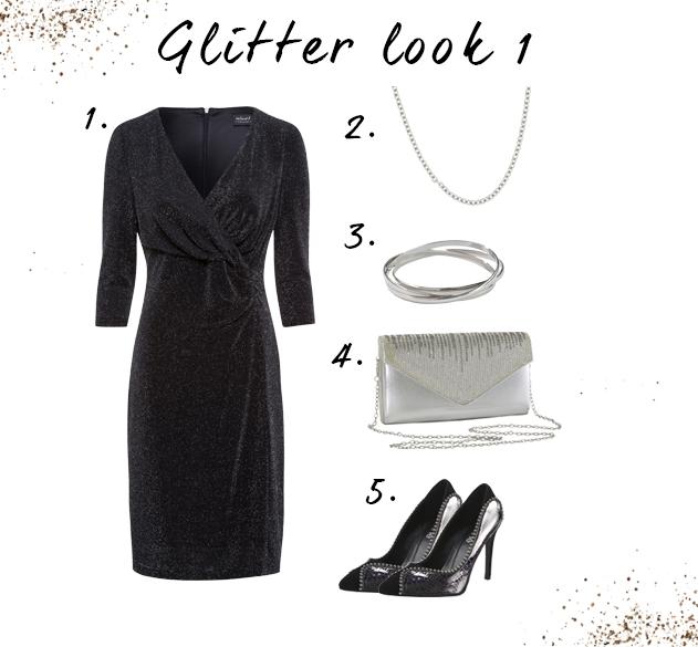 Glitter looks met jurk
