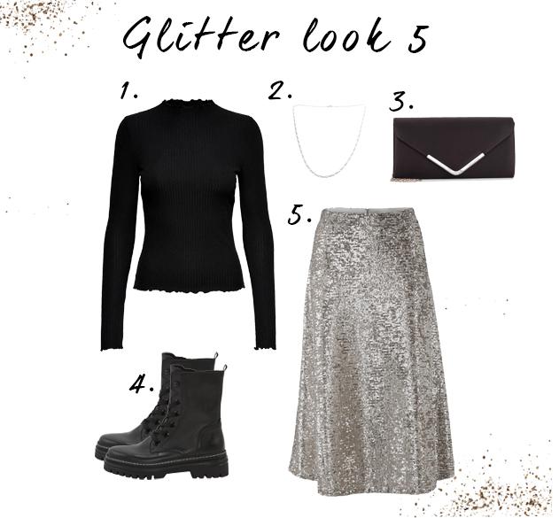 Glitter looks met rokje
