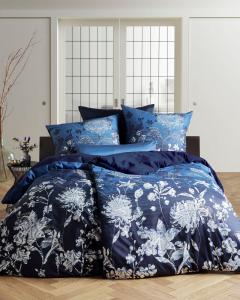 Blauw satijn bloemen dekbedovertrek