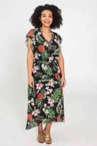 Maxi-jurk grote maten jungle