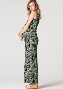 Groene lange stijlvolle zwangerschapskleding jurk jungle