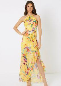 Maxi-jurk geel bloemen