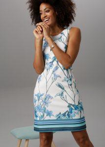 Summer chique korte zomerjurk wit met blauwe bloemenprint