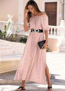 Summer chique max-jurk wit met roze stippen