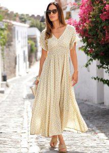 Summer chique max-jurk geel met witte stippen