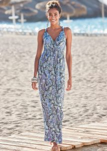 Strand outfits: maxi-jurk blauw